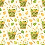 Easter seamless pattern. Template with Easter basket, eggs, quail feathers and spring flowers.