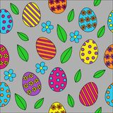 Easter seamless pattern vector background, cute outline colourfu. L painted easter eggs with green spring leaves and flowers on light grey background Royalty Free Stock Photo