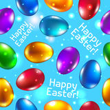 Easter seamless pattern vector blue. Happy easter. Stock Photo