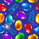 Easter seamless pattern vector blue. Happy easter. Royalty Free Stock Image