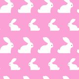 Easter Seamless Pattern With White Rabbits Ornament On Pink Background. Vector Illustration Royalty Free Stock Image