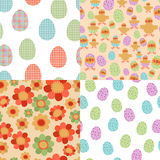 Easter Seamless Patterns. Vector seamless pattern on Easter theme. Easter Spring background with flowers and eggs. Collection Easter pattern for scrapbook and Stock Photo