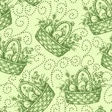 Easter seamless pettern. Seamless pattern with hand drawn easter basket Stock Image