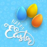 Easter seamless vector pattern with color eggs. Holiday background Royalty Free Stock Photo