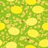 Easter seamless vector pattern with eggs and catkins stock illustration
