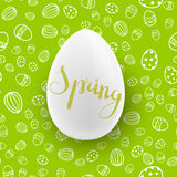 Easter seamless vector pattern with white egg. Holiday background Stock Photography