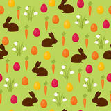 Easter seamless wallpaper. Chocolate bunny with Easter basket and Easter eggs. Beautiful vector pattern. Can be used for wallpaper, background, surface texture Stock Photos