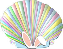 Easter Seashell. A scallop seashell decorated in the pastel colors of the Easter pink, blue, yellow, and green and adorned with bunny ears and Easter eggs Stock Images