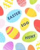 Easter seasons greetings card. Easter typography.Colorful eggs with quote easter egg hunt. Seasons greetings card perfect for prints, flyers,banners,holiday Vector Illustration