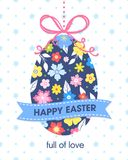 Easter seasons greetings card. Easter typography.Colorful hanging Easter egg with ribbon and text. Seasons greetings card perfect for prints, flyers,banners Vector Illustration