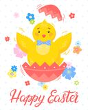 Easter seasons greetings card. Easter typography.Happy Easter - hand drawn lettering with cute little chick,colorful egg and flowers. Seasons greetings card Stock Photos