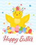 Easter seasons greetings card. Easter typography.Happy Easter - hand drawn lettering with cute little chick,colorful eggs and flowers. Seasons greetings card Royalty Free Stock Images