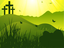 Easter serene background with crosses and eggs Stock Image