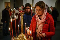 Easter service on the night of 1 may 2016 the Russian Orthodox Church in Kaluga region. Royalty Free Stock Images