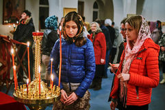 Easter service on the night of 1 may 2016 the Russian Orthodox Church in Kaluga region. Stock Image