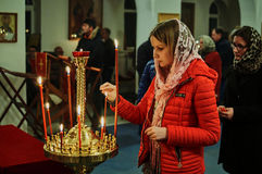 Easter service on the night of 1 may 2016 the Russian Orthodox Church in Kaluga region. Royalty Free Stock Photos