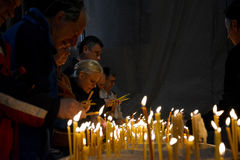Easter service in Orthodox Cathedral of Saint Sava in Belgrade royalty free stock images