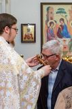 Easter service in the Orthodox Church in the Kaluga region of Russia. On April 28, 2019, the entire Orthodox Church celebrated the feast of the Resurrection of stock photography