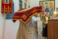 Easter service in the Orthodox Church in the Kaluga region of Russia. On April 28, 2019, the entire Orthodox Church celebrated the feast of the Resurrection of royalty free stock image
