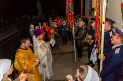 Easter service in the Orthodox Church in the Kaluga region of Russia. On April 28, 2019, the entire Orthodox Church celebrated the feast of the Resurrection of royalty free stock photo