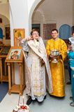 Easter service in the Orthodox Church in the Kaluga region of Russia. On April 28, 2019, the entire Orthodox Church celebrated the feast of the Resurrection of royalty free stock images