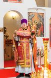 Easter service in the Orthodox Church in the Kaluga region of Russia. On April 28, 2019, the entire Orthodox Church celebrated the feast of the Resurrection of stock image