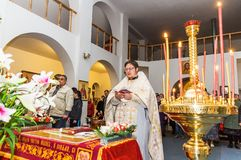 Easter service in the Orthodox Church in the Kaluga region of Russia. On April 28, 2019, the entire Orthodox Church celebrated the feast of the Resurrection of stock photo