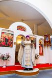 Easter service in the Orthodox Church in the Kaluga region of Russia. On April 28, 2019, the entire Orthodox Church celebrated the feast of the Resurrection of royalty free stock photos