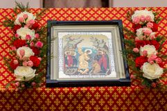 Easter service in the Orthodox Church in the Kaluga region of Russia. On April 28, 2019, the entire Orthodox Church celebrated the feast of the Resurrection of stock images