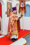 Easter service in the Orthodox Church in the Kaluga region of Russia. On April 28, 2019, the entire Orthodox Church celebrated the feast of the Resurrection of stock photos