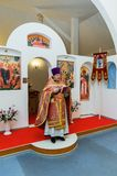 Easter service in the Orthodox Church in the Kaluga region of Russia. On April 28, 2019, the entire Orthodox Church celebrated the feast of the Resurrection of royalty free stock photography