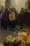 Easter service in the Orthodox Church in Kaluga region of Russia. Royalty Free Stock Image