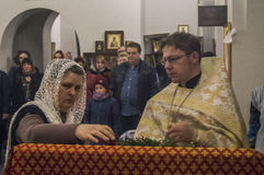 Easter service in the Orthodox Church in Kaluga region of Russia. Royalty Free Stock Photography