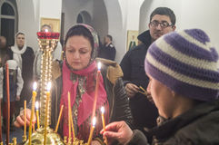 Easter service in the Orthodox Church in Kaluga region of Russia. Royalty Free Stock Photos