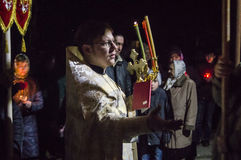Easter service in the Orthodox Church in Kaluga region of Russia. Stock Images