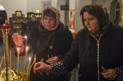 Easter service in the Orthodox Church in Kaluga region of Russia. Stock Photo