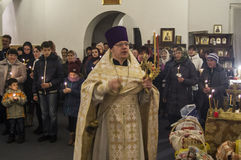 Easter service in the Orthodox Church in Kaluga region of Russia. Stock Image