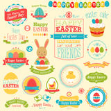 Easter set. Labels, ribbons and other elements. Vector illustration