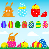 Easter set. (bunny, chick, egg royalty free illustration