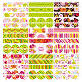Easter set of border, design elements. Stock Photos