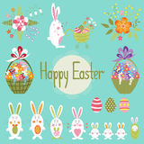 Easter set with bunnies Stock Image