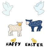 Easter set of cartoon character elements stock illustration