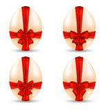 Easter set celebration egg wrapping red bow Royalty Free Stock Photography