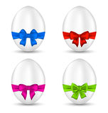 Easter set celebration eggs with colorful bows Royalty Free Stock Photo