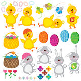 Easter set, chickens, eggs, baskets, rabbits, butt Stock Photos