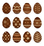 Easter set chocolate ornate eggs with shadows isolated on white Stock Images
