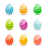 Easter set colorful ornamental eggs  Royalty Free Stock Photography