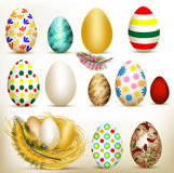 Easter set of colorful vector eggs Stock Photo