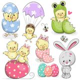 Easter set with cute Chicken. Easter set with cute Cartoon Chicken and rabbit royalty free illustration