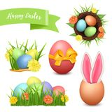 Easter set. 3d vector icons realistic Stock Photos